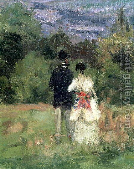 Louveciennes, detail of lovers by Camille Pissarro - Reproduction Oil Painting