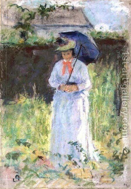 Woman with a Parasol by Camille Pissarro - Reproduction Oil Painting
