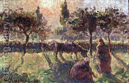 In the Fields, 1890 by Camille Pissarro - Reproduction Oil Painting