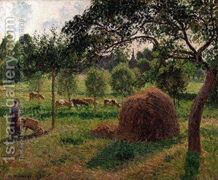 Sunset at Eragny, 1896 by Camille Pissarro - Reproduction Oil Painting