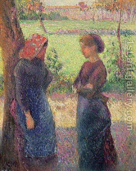 The Chat, c.1892 by Camille Pissarro - Reproduction Oil Painting