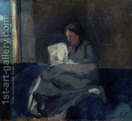 Woman Reading by Camille Pissarro - Reproduction Oil Painting
