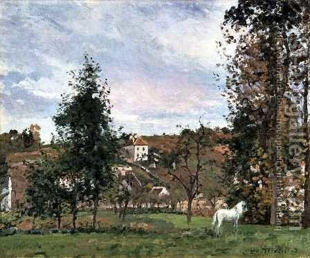 Landscape With A White Horse In A Field, L'Ermitage, 1872 by Camille Pissarro - Reproduction Oil Painting