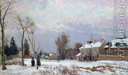 Road from Versailles to Saint-Germain, Louveciennes, and effects of snow, 1872 by Camille Pissarro - Reproduction Oil Painting