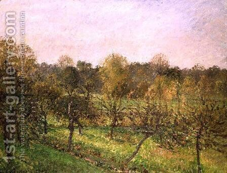 Sunset at Eragny (Soleil Couchant a Eragny) 1902 by Camille Pissarro - Reproduction Oil Painting