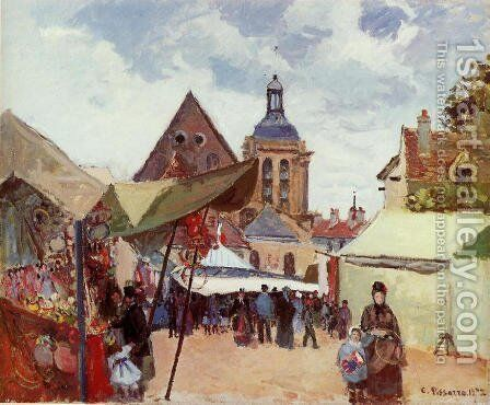 September Fete, Pontoise, 1872 by Camille Pissarro - Reproduction Oil Painting