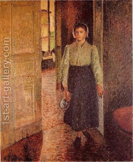 A Young Maid by Camille Pissarro - Reproduction Oil Painting