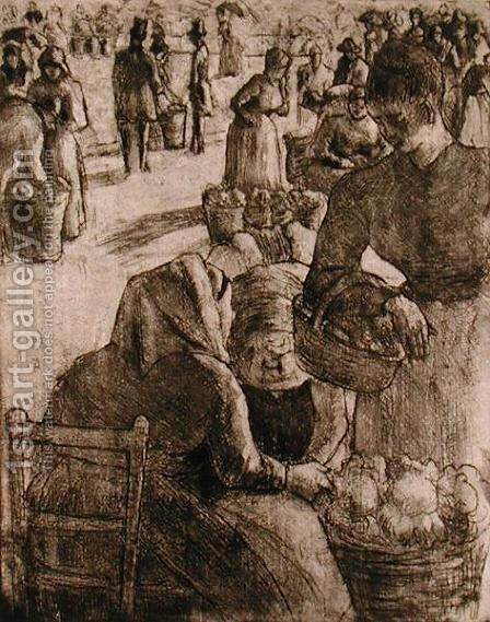 The Vegetable Market at Pontoise, 1891 by Camille Pissarro - Reproduction Oil Painting