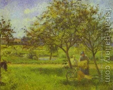 The Wheelbarrow, Orchard, c.1881 by Camille Pissarro - Reproduction Oil Painting