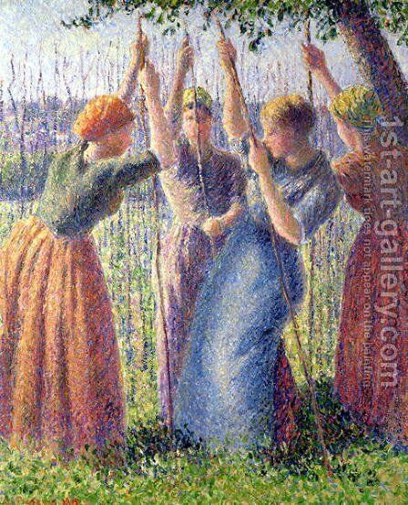Women Planting Peasticks, 1891 by Camille Pissarro - Reproduction Oil Painting