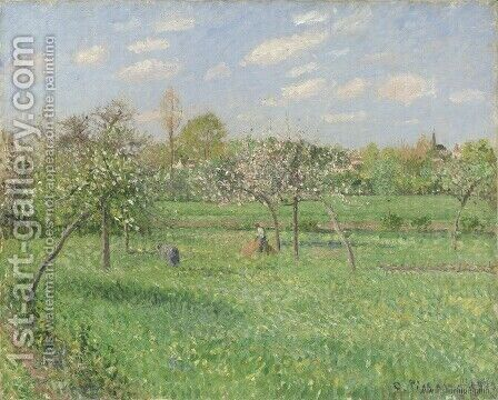 Spring Morning, Cloudy, Eragny, 1900 by Camille Pissarro - Reproduction Oil Painting
