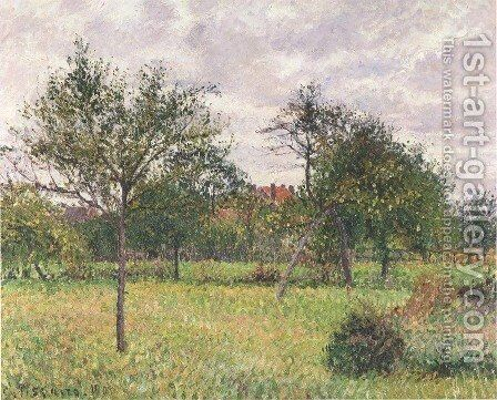 Autumn Morning, Cloudy, Eragny, 1900 by Camille Pissarro - Reproduction Oil Painting