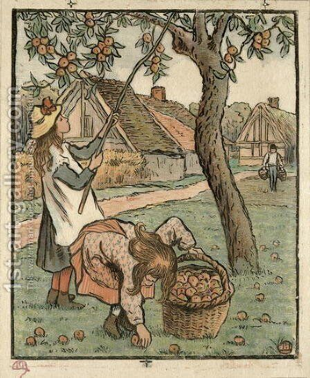 Gathering Apples, from 'Travaux des Champs',  1893 by Camille Pissarro - Reproduction Oil Painting