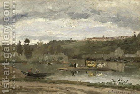 Ferry at Varenne-Saint-Hilaire, 1864 by Camille Pissarro - Reproduction Oil Painting