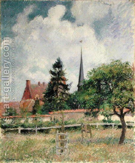 The Church at Eragny, 1884 by Camille Pissarro - Reproduction Oil Painting