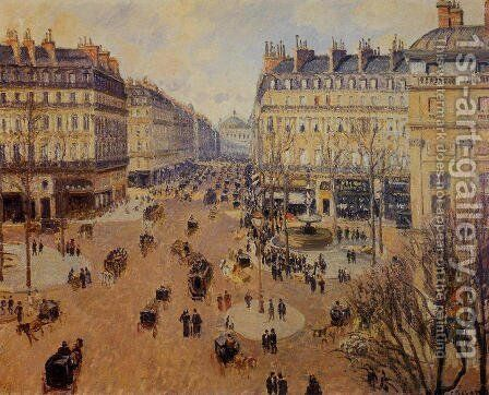 Place du Theatre Francais, Afternoon Sun in Winter, 1898 by Camille Pissarro - Reproduction Oil Painting