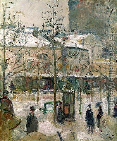 Boulevard de Rocheouart in Snow, 1878 by Camille Pissarro - Reproduction Oil Painting