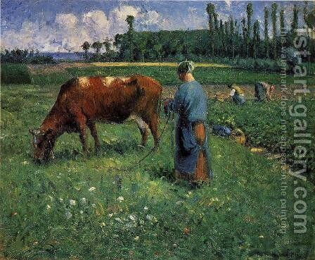Girl Tending a Cow in Pasture, 1874 by Camille Pissarro - Reproduction Oil Painting