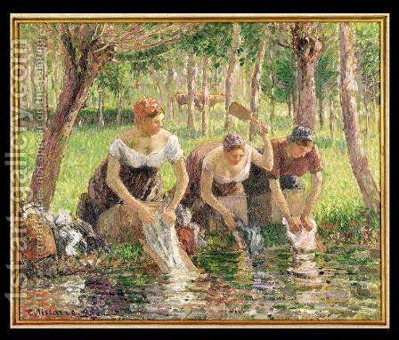 The Washerwomen, Eragny, 1895 by Camille Pissarro - Reproduction Oil Painting