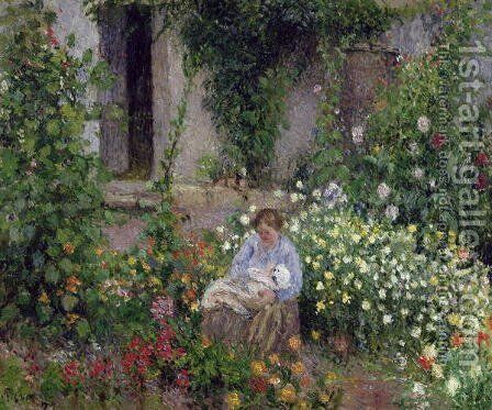 Mother and Child in the Flowers, 1879 by Camille Pissarro - Reproduction Oil Painting