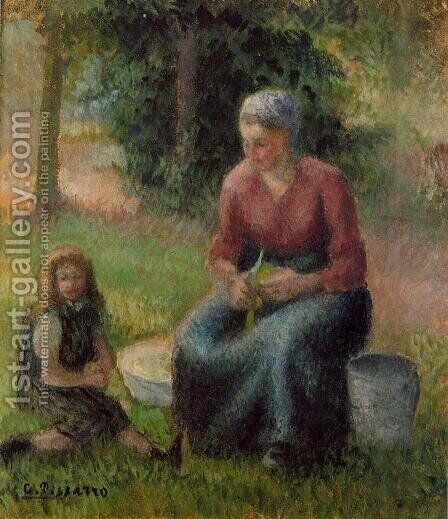 Peasant Woman and her Little Girl, c.1893 by Camille Pissarro - Reproduction Oil Painting