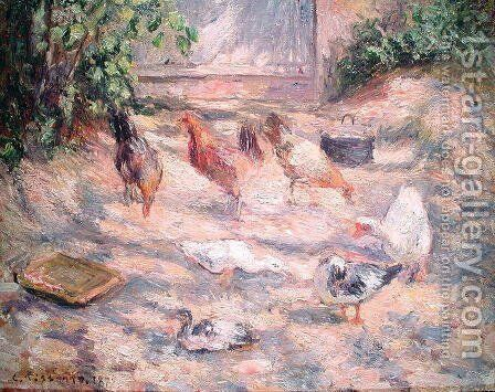 Farmyard at Pontoise, 1877 by Camille Pissarro - Reproduction Oil Painting