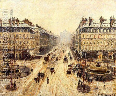 Avenue de l'Opera - Effect of Snow, 1898 by Camille Pissarro - Reproduction Oil Painting