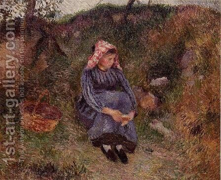 Seated Peasant Girl, 1883 by Camille Pissarro - Reproduction Oil Painting
