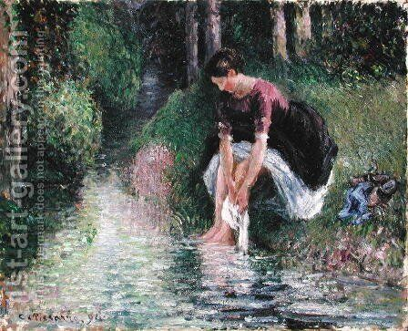 Woman Washing Her Feet in a Brook, 1894 by Camille Pissarro - Reproduction Oil Painting