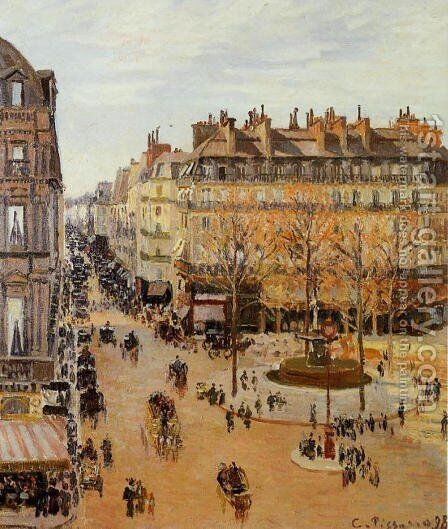 Rue Saint-Honore, Sun Effect, Afternoon, 1898 by Camille Pissarro - Reproduction Oil Painting