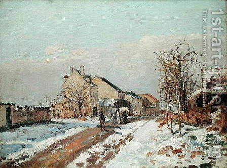 The Road from Gisors to Pontoise, Snow Effect, 1872 by Camille Pissarro - Reproduction Oil Painting