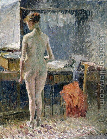 Female Nude seen from the Back, 1895 by Camille Pissarro - Reproduction Oil Painting