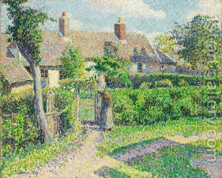 Peasants' Houses, Eragny, 1887 by Camille Pissarro - Reproduction Oil Painting