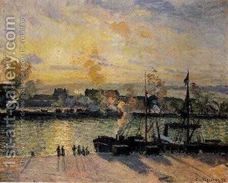 Sunset, The Port of Rouen (Steamboats) 1898 by Camille Pissarro - Reproduction Oil Painting