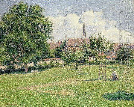 The House of the Deaf Woman and the Belfry at Eragny, 1886 by Camille Pissarro - Reproduction Oil Painting
