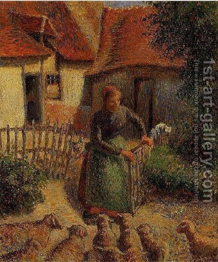 Shepherdess Bringing in Sheep, 1886 by Camille Pissarro - Reproduction Oil Painting