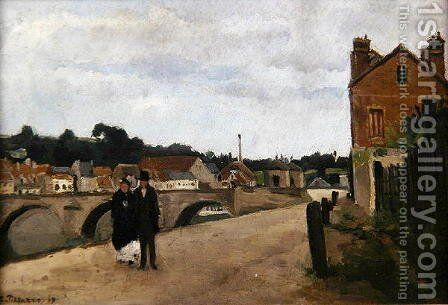The Chemin de l'Ecluse and the Pontoise Bridge, 1867 by Camille Pissarro - Reproduction Oil Painting