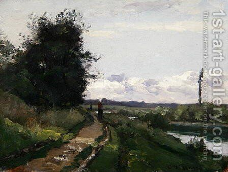 The Banks of the Seine at Bougival, 1864 by Camille Pissarro - Reproduction Oil Painting