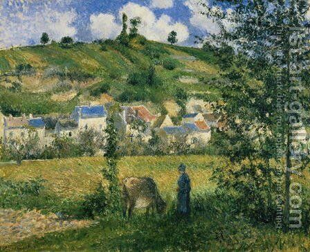 Landscape at Chaponval, 1880 by Camille Pissarro - Reproduction Oil Painting