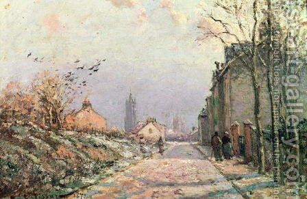 The Road, Effect of Winter, 1872 by Camille Pissarro - Reproduction Oil Painting