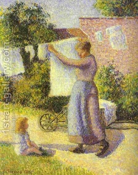 Woman Hanging up the Washing, 1887 by Camille Pissarro - Reproduction Oil Painting