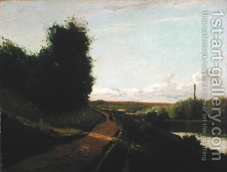 The Tow Path at Bougival, 1864 by Camille Pissarro - Reproduction Oil Painting