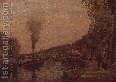 River Scene, 1871 by Camille Pissarro - Reproduction Oil Painting