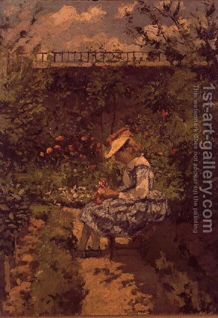 Girl in a Garden by Camille Pissarro - Reproduction Oil Painting