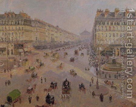 The Avenue de L'Opera, Paris, Sunlight, Winter Morning, c.1880 by Camille Pissarro - Reproduction Oil Painting