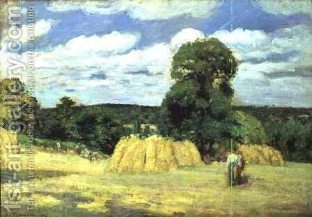 Harvesting at Montfoucault, 1876 by Camille Pissarro - Reproduction Oil Painting