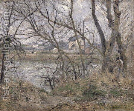 The Banks of the Oise, near Pontoise, Cloudy Weather, 1878 by Camille Pissarro - Reproduction Oil Painting