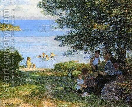 By the Water by Edward Henry Potthast - Reproduction Oil Painting