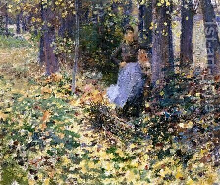 Autumn Sunlight (In the Woods) 1888 by Theodore Robinson - Reproduction Oil Painting