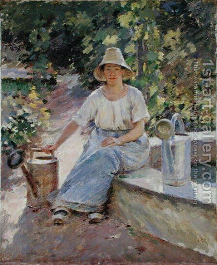 The Watering Pots, 1890 by Theodore Robinson - Reproduction Oil Painting